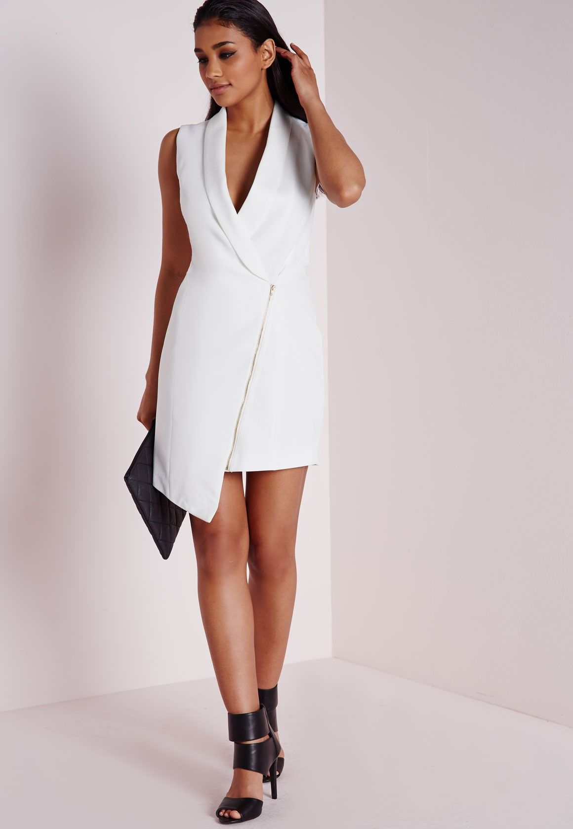 77c44c66127 Missguided - Crepe Sleeveless Blazer Dress White    trying to find  something like selena s trench dress
