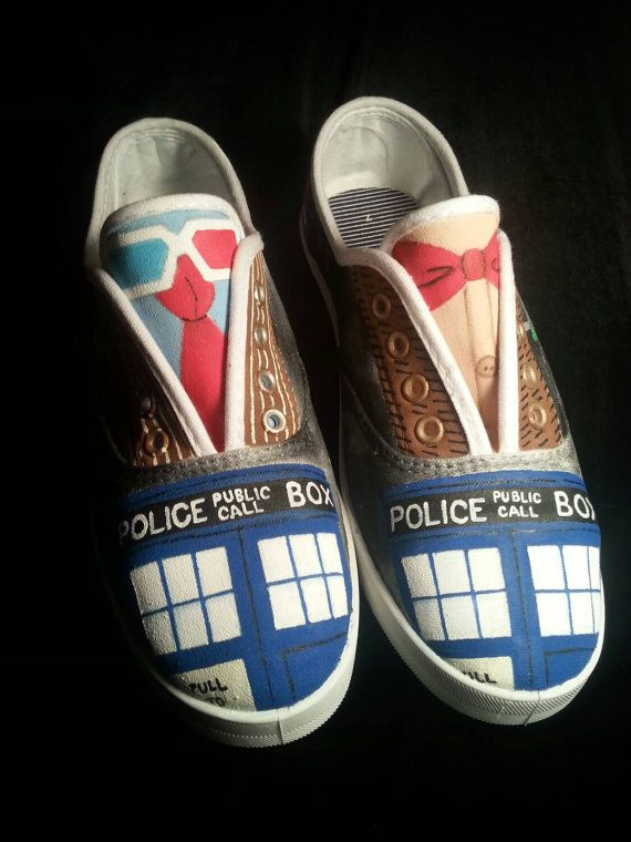 f1cabb7b76e0 Hand Painted Doctor Who Shoes - Tenth and Eleventh Doctor Suits ...