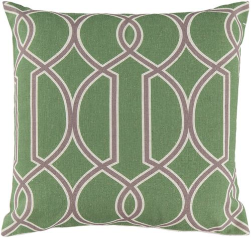 Modern Classic Accent Pillow In Apple Green Amp Beige