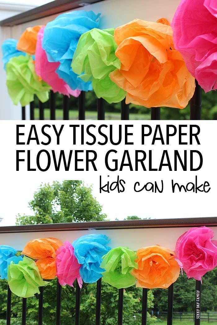 Easy Tissue Paper Flower Garland Kids Can Make #paperflowergarlands