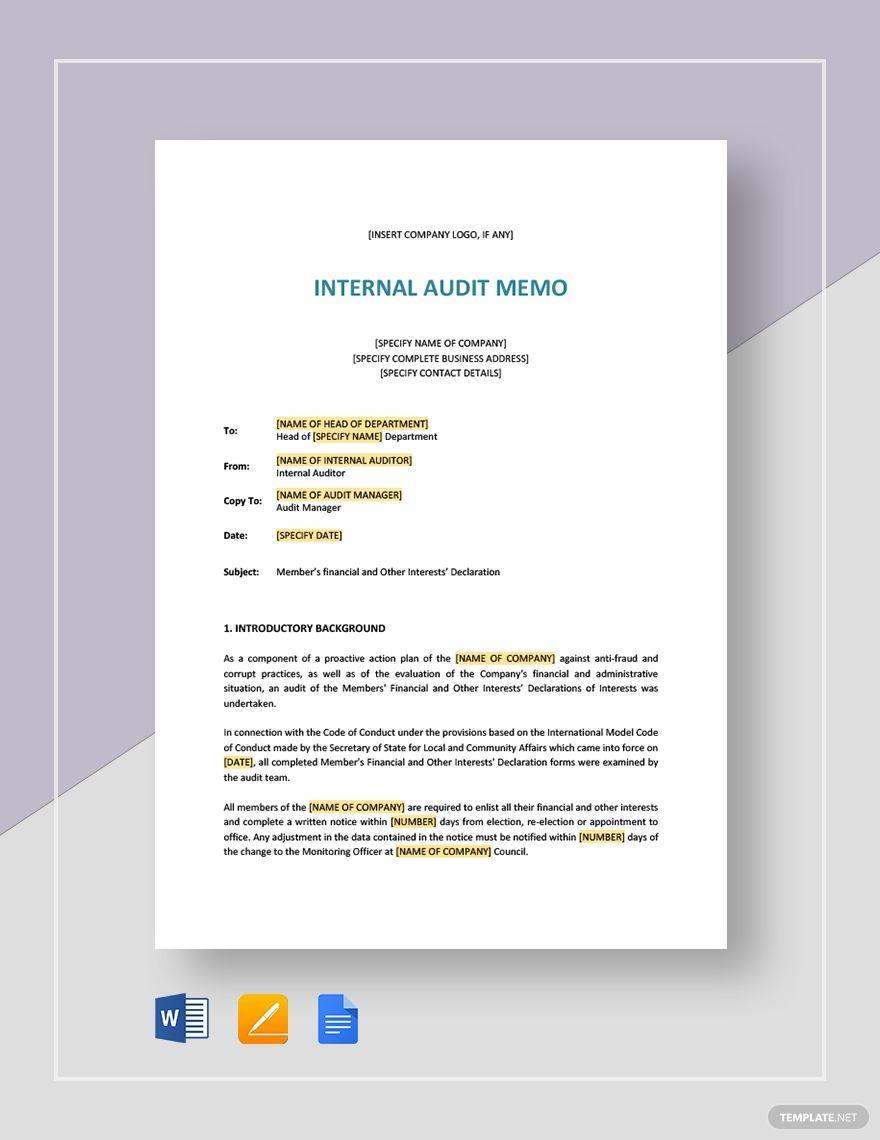Internal Audit Memo Memo Template Memo Format Internal Audit