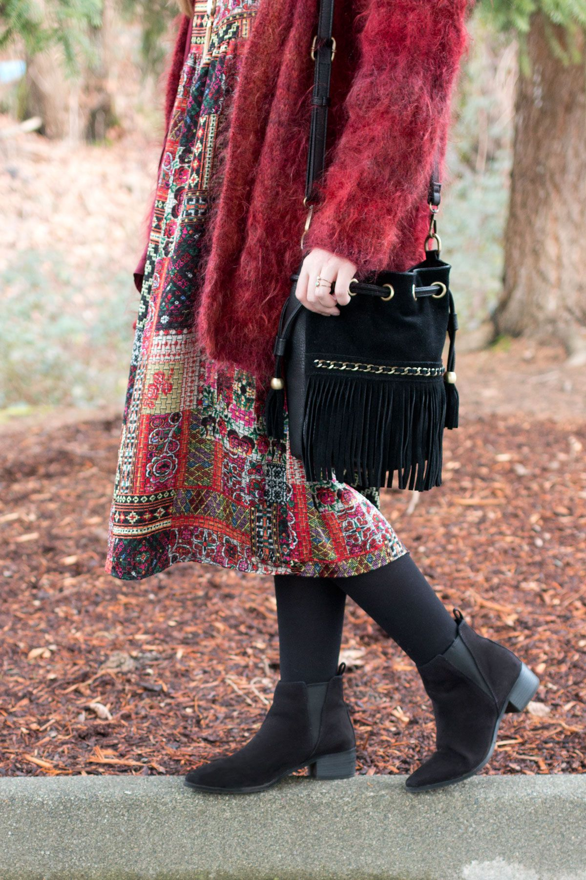 Midi Dress with Fuzzy Coat Outfit // Winter Bohemian Outfit // Hello Rigby Seattle Fashion & Style Blog