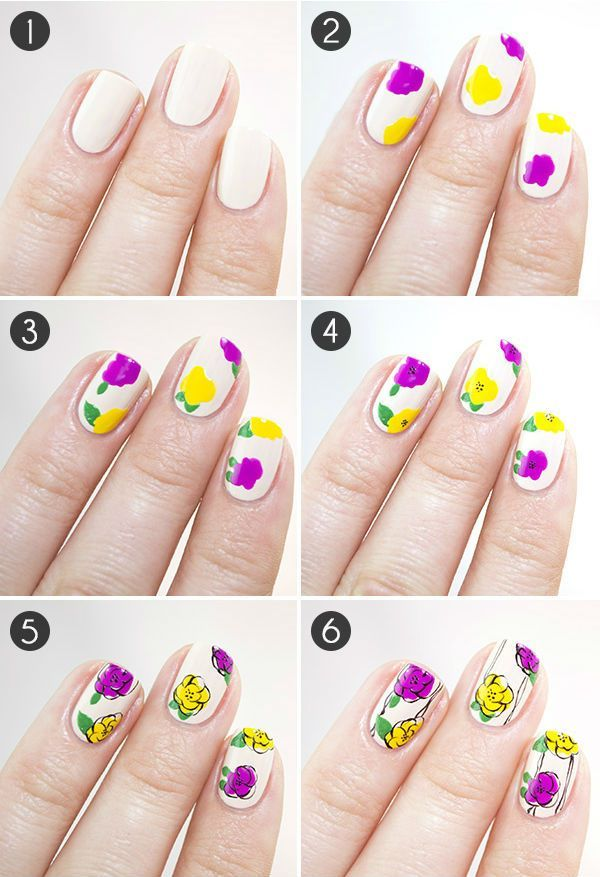 How To Draw Flowers On Nails Step By