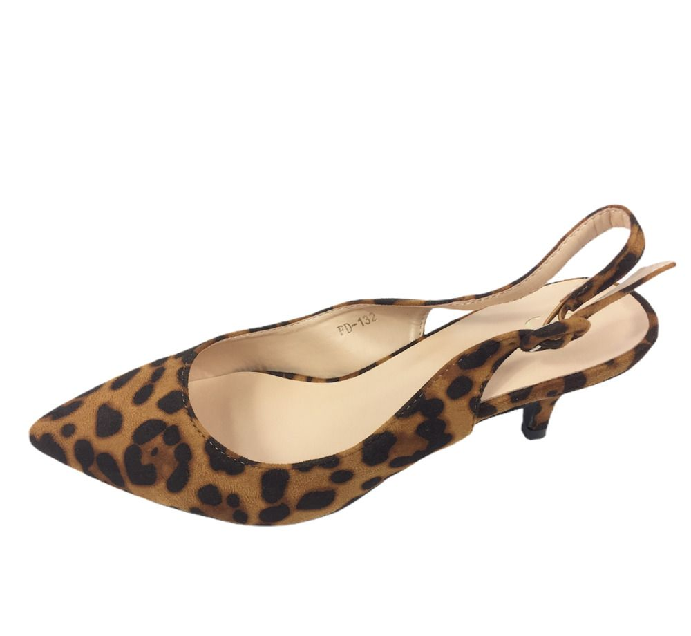 Womens Leopard Print Faux Suede Kitten Heel Slingback Shoes Size Uk 4 5 6 7 Bn Ebay In 2020 Kitten Heel Slingback Shoes Kitten Heel Ankle Boots Suede High Heels