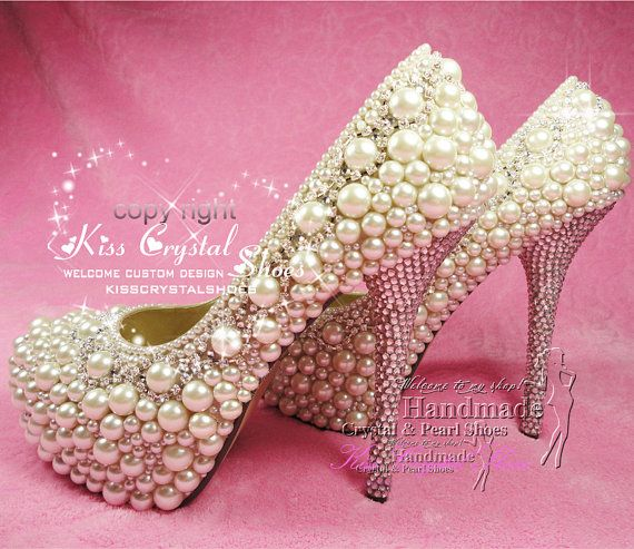 ab14a8c3ce High heels with pearls rhinestone crystal by KissCrystalShoes ...