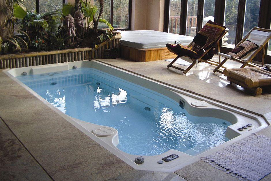 Indoor swim spa designs google search small house for Swimming pool spa designs