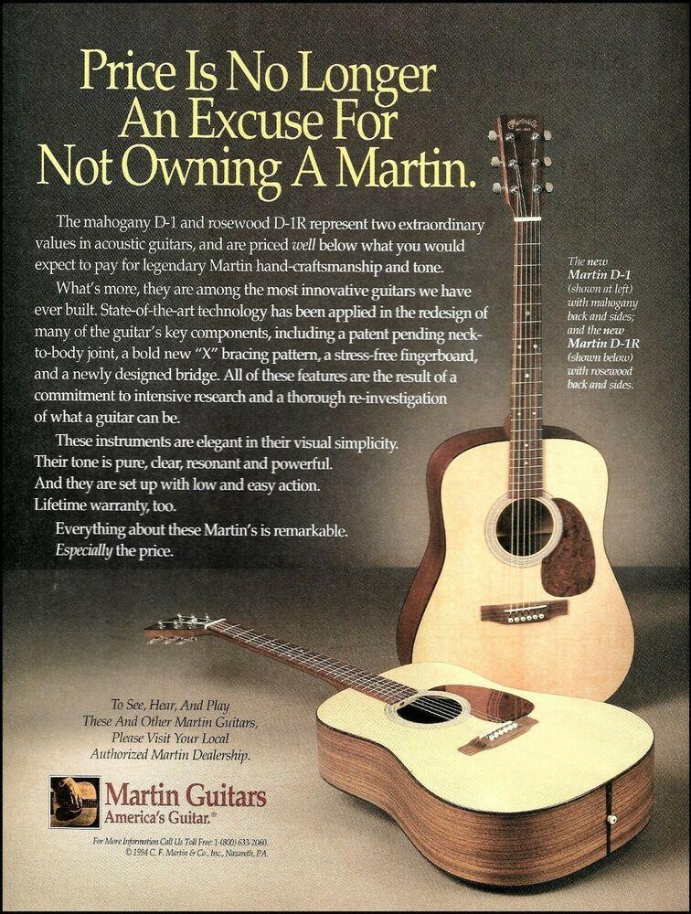 Martin D 1 D 1r Rosewood Acoustic Guitar 1994 Advertisement 8 X 11 Ad Print Martin Guitar Martin Guitar Acoustic Guitar