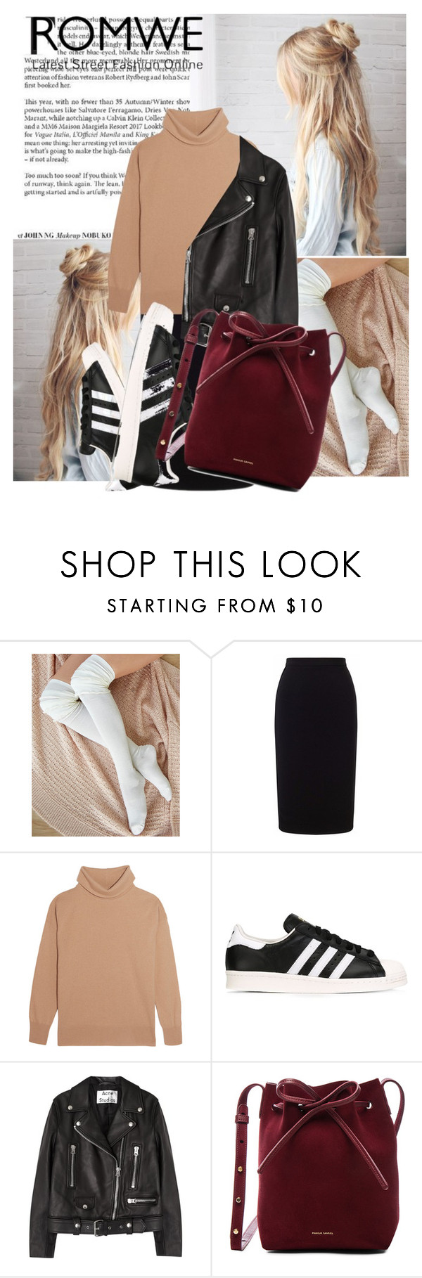 """""""Maroon"""" by taraditha ❤ liked on Polyvore featuring Wet Seal, Roland Mouret, Iris & Ink, adidas Originals, Acne Studios and Mansur Gavriel"""