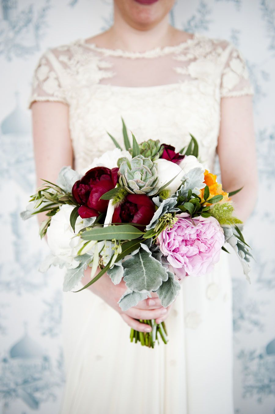 Textured peony and succulent bouquet. Photography: - khakibedfordphoto.com/