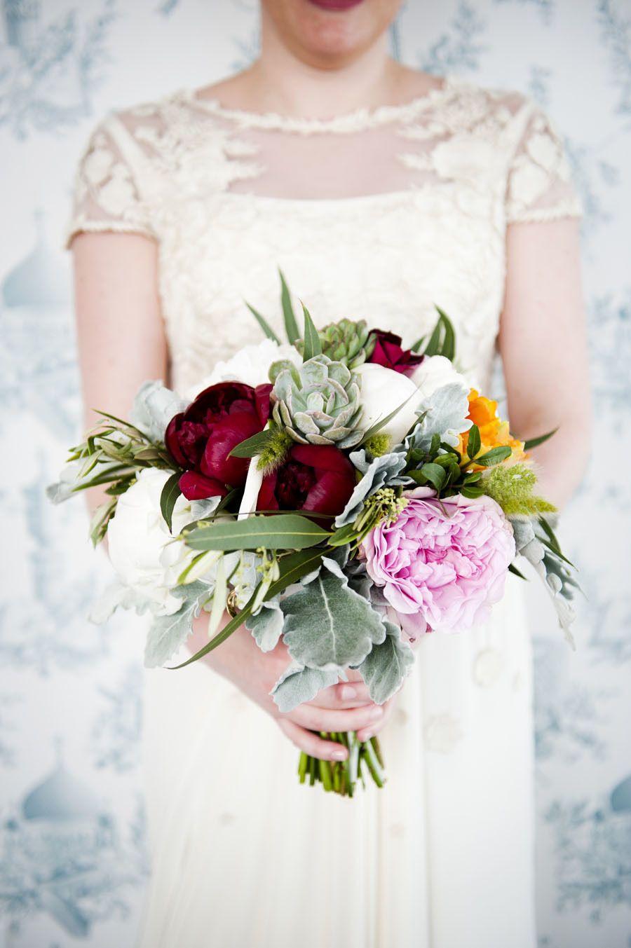 Textured peony and succulent bouquet. Photography: - khakibedfordphoto.com/