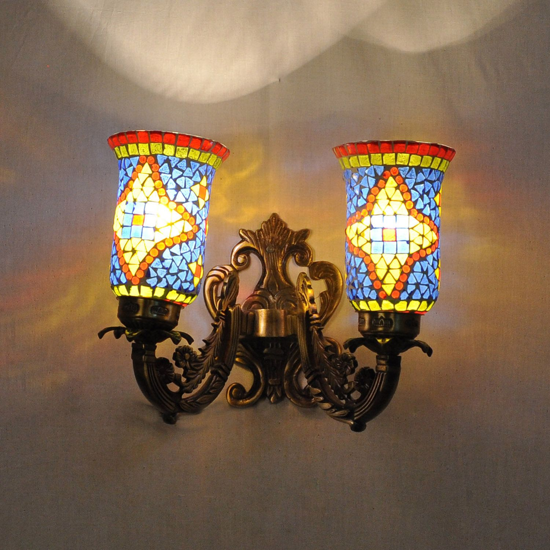 2 Arm Mosaic Wall Lamp Multicolored Handmade Glass Lampshades