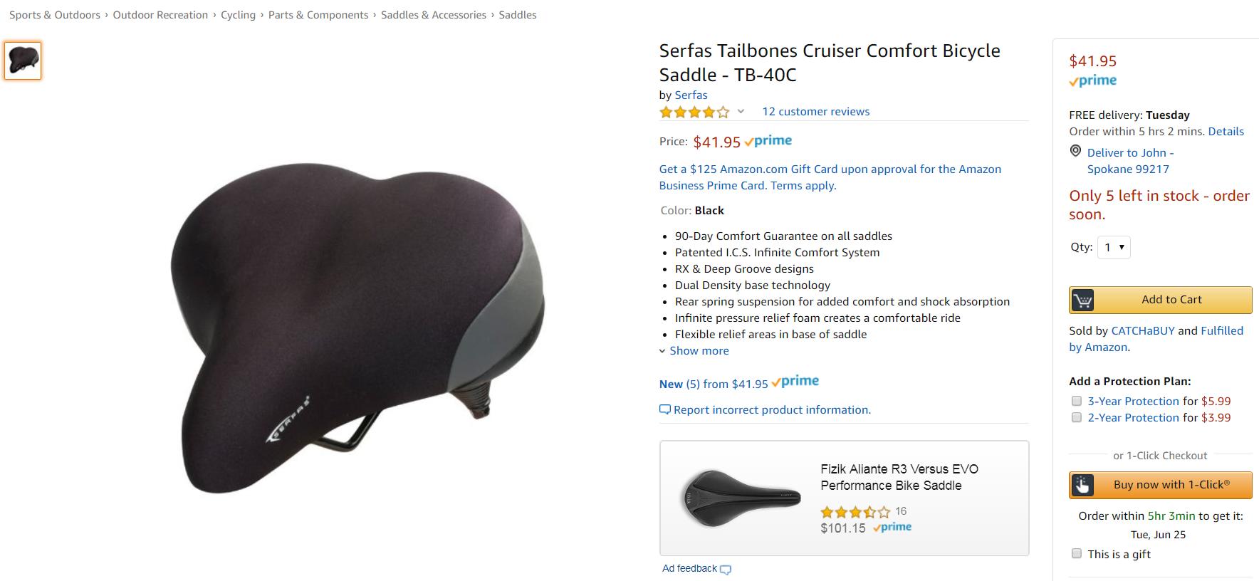 SERFAS Bicycle Saddle Comfort Shock Absorption RX Saddle
