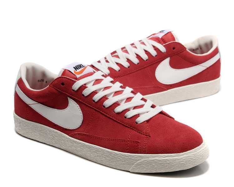 caa902ff6231d Nike Blazer Low Premium Vintage Suede Womens Shoes Red White UK Cheap Store