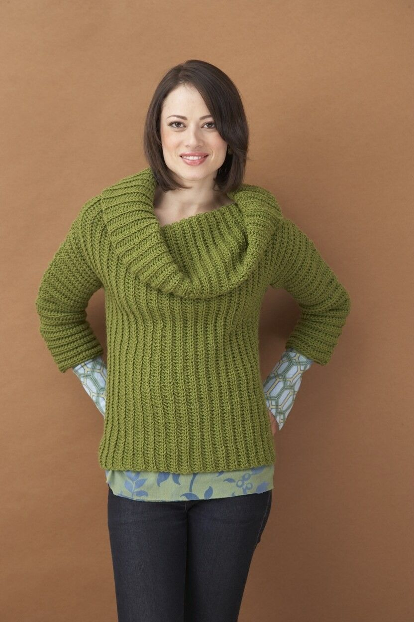Side To Side Cowl Neck Sweater Pattern - Lion Brand Yarn ...