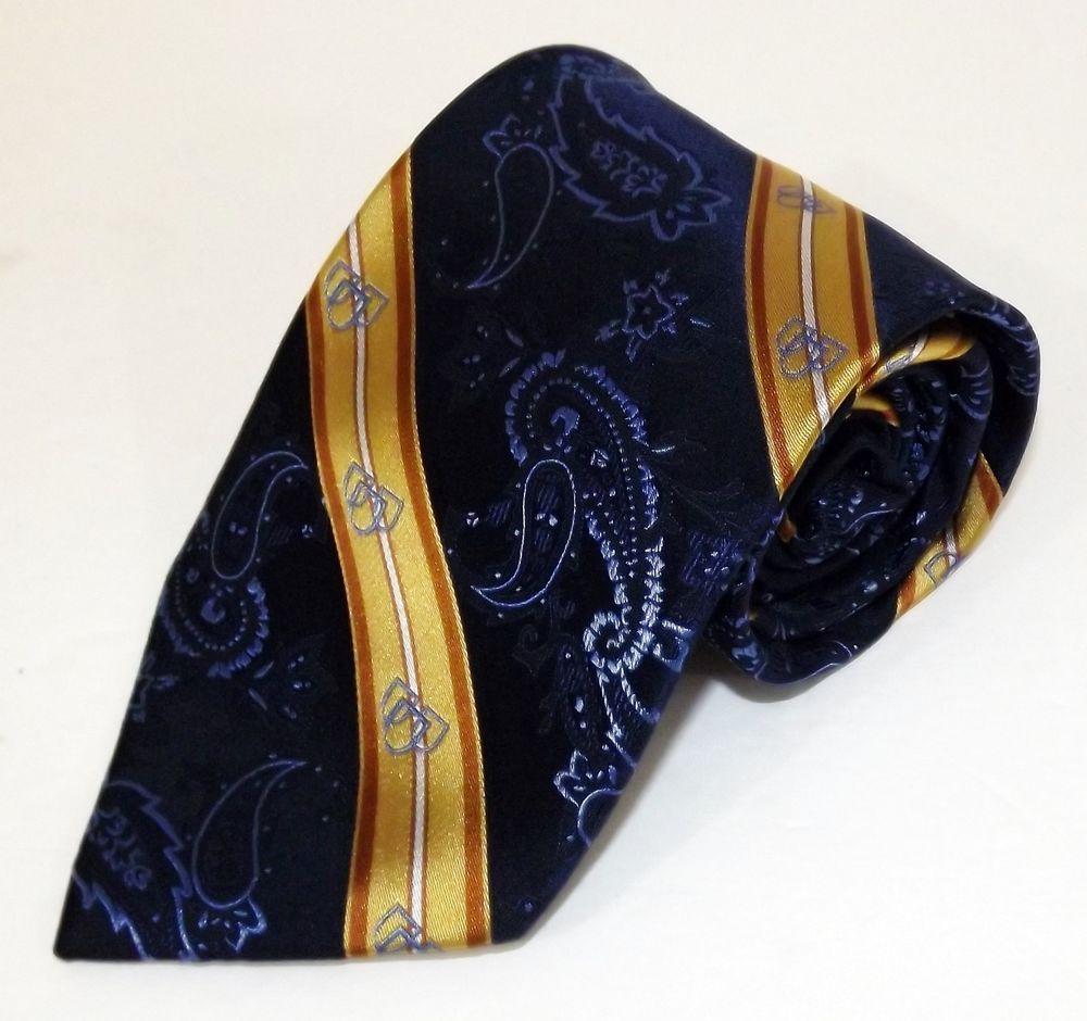 b5ff168d262d7 NWOT Mayo Clinic Alumni Association Blue Gold Striped with 3 Shields Logo  Tie