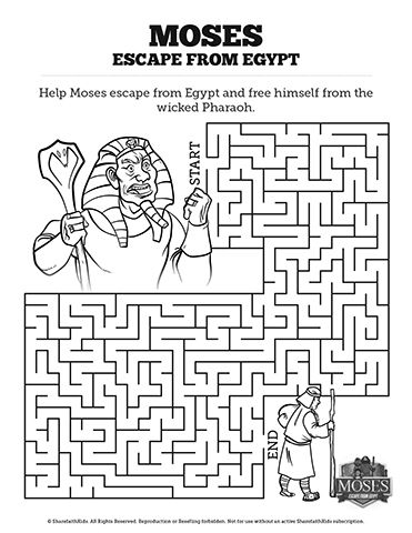 Exodus 2 Moses Escapes From Egypt Bible Mazes: Help Moses