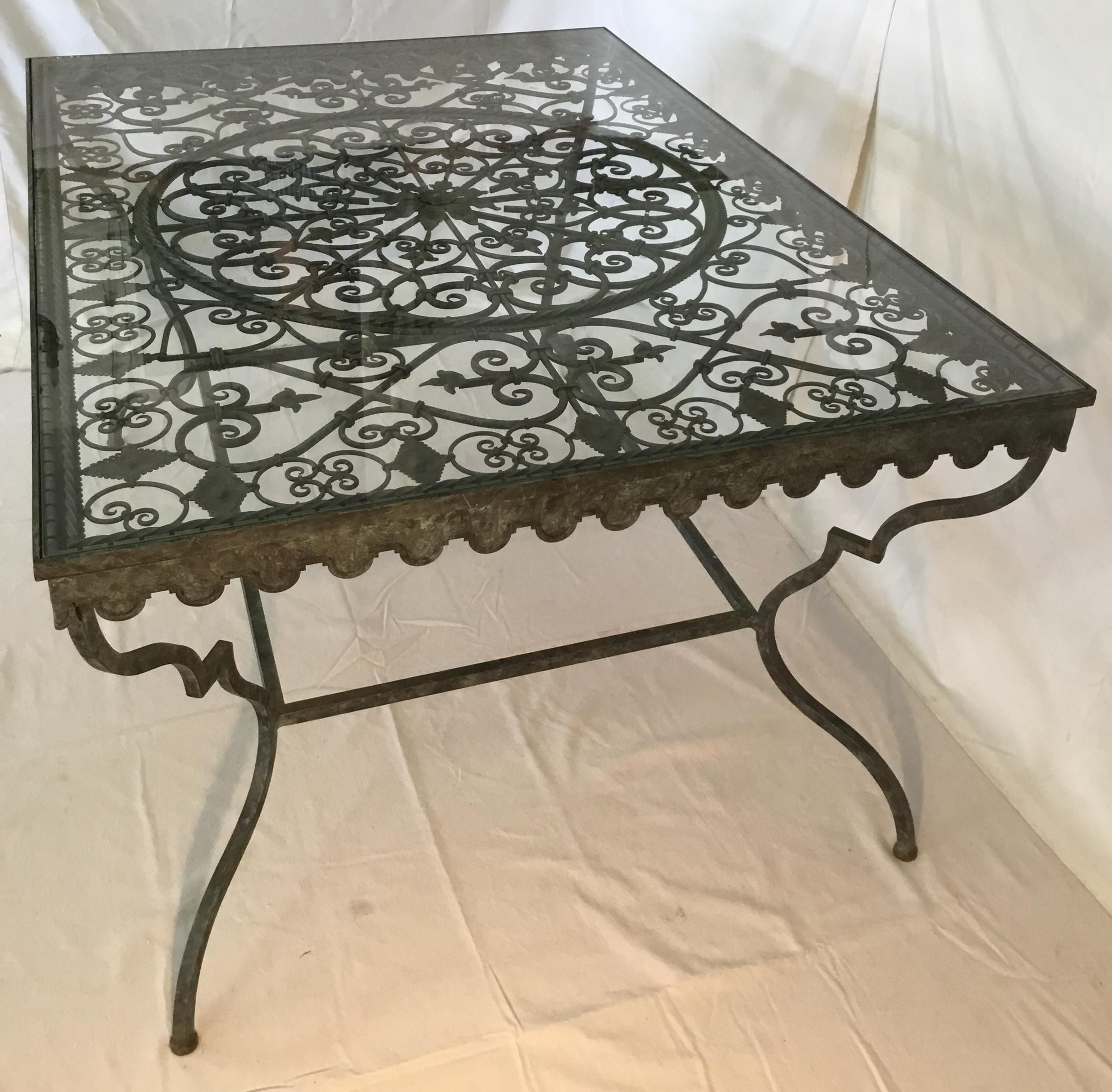 1940s French Provincial Iron Table With Glass Top Iron Table Wrought Iron Furniture Iron Chair