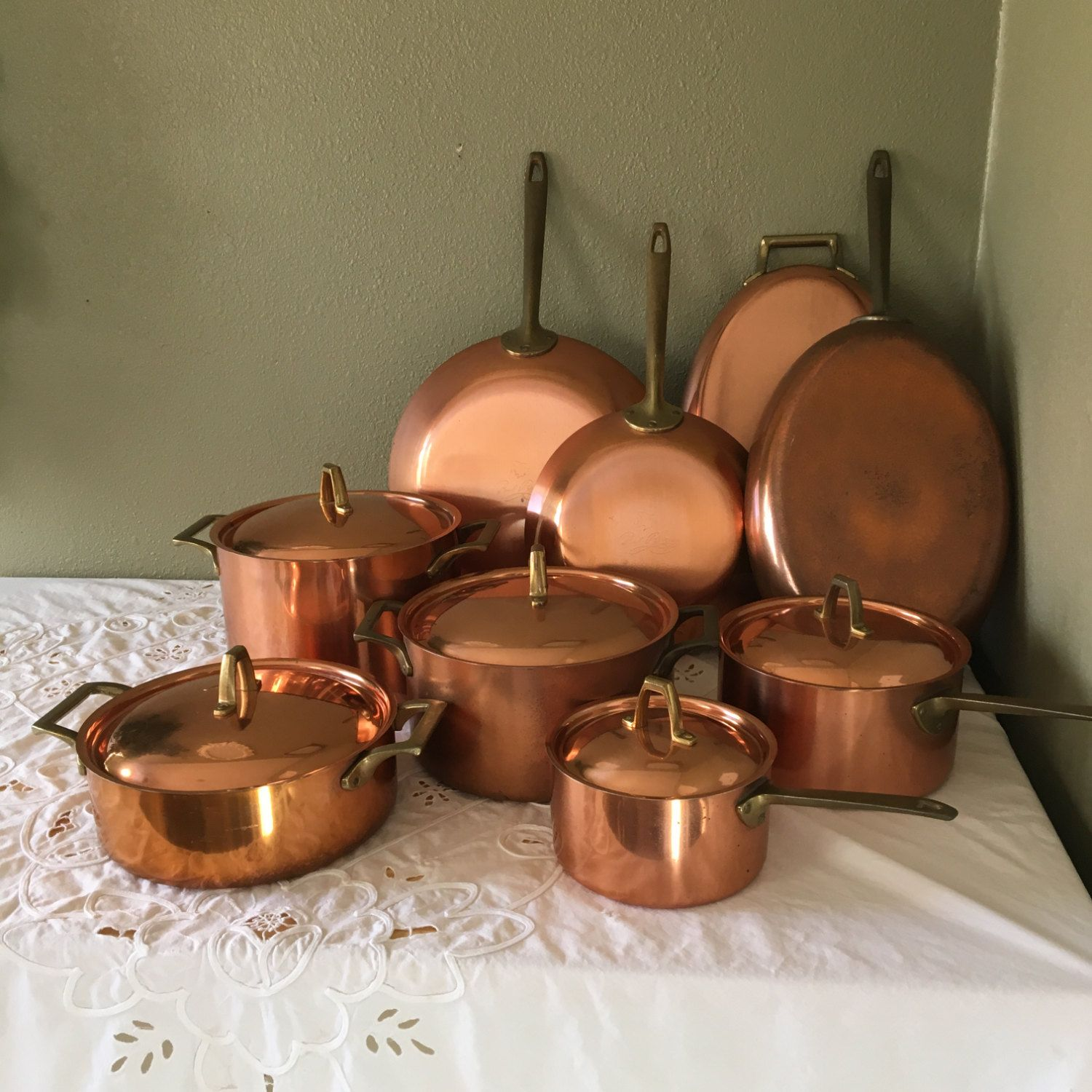 14 Piece Paul Revere Solid Copper Pots And Pans Set 1801 Limited Edition Collection Revere Ware 1970 39 S Vin Pots And Pans Sets Copper Pots Pots And Pans