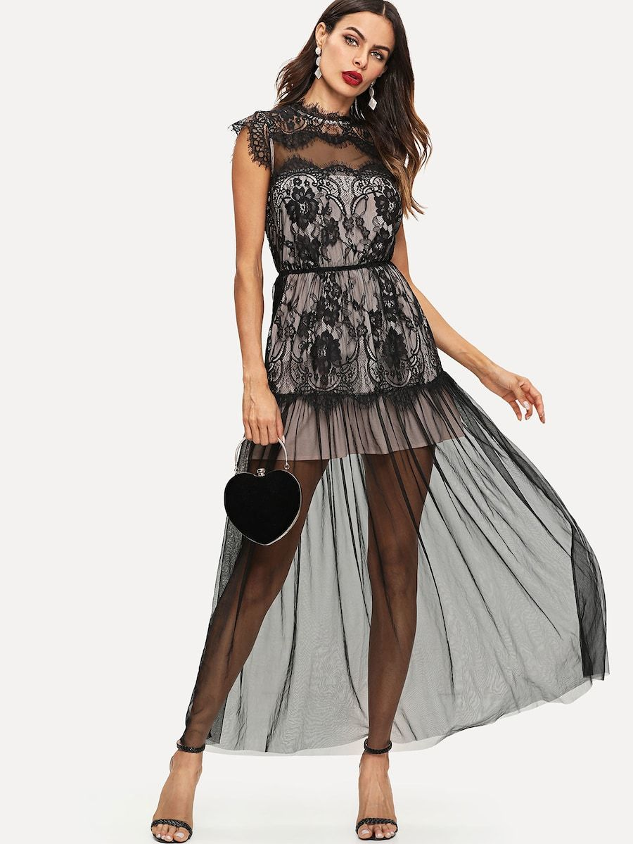3642a799fc Shein Eyelash Lace Trim Mesh Overlay Maxi Dress in 2019   dresses ...