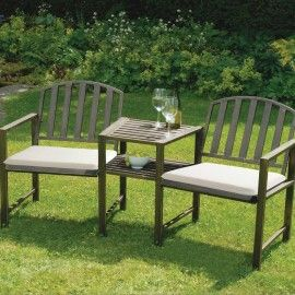 Super Greenhurst Duo Bench With 2 Seats And Built In Table For Short Links Chair Design For Home Short Linksinfo