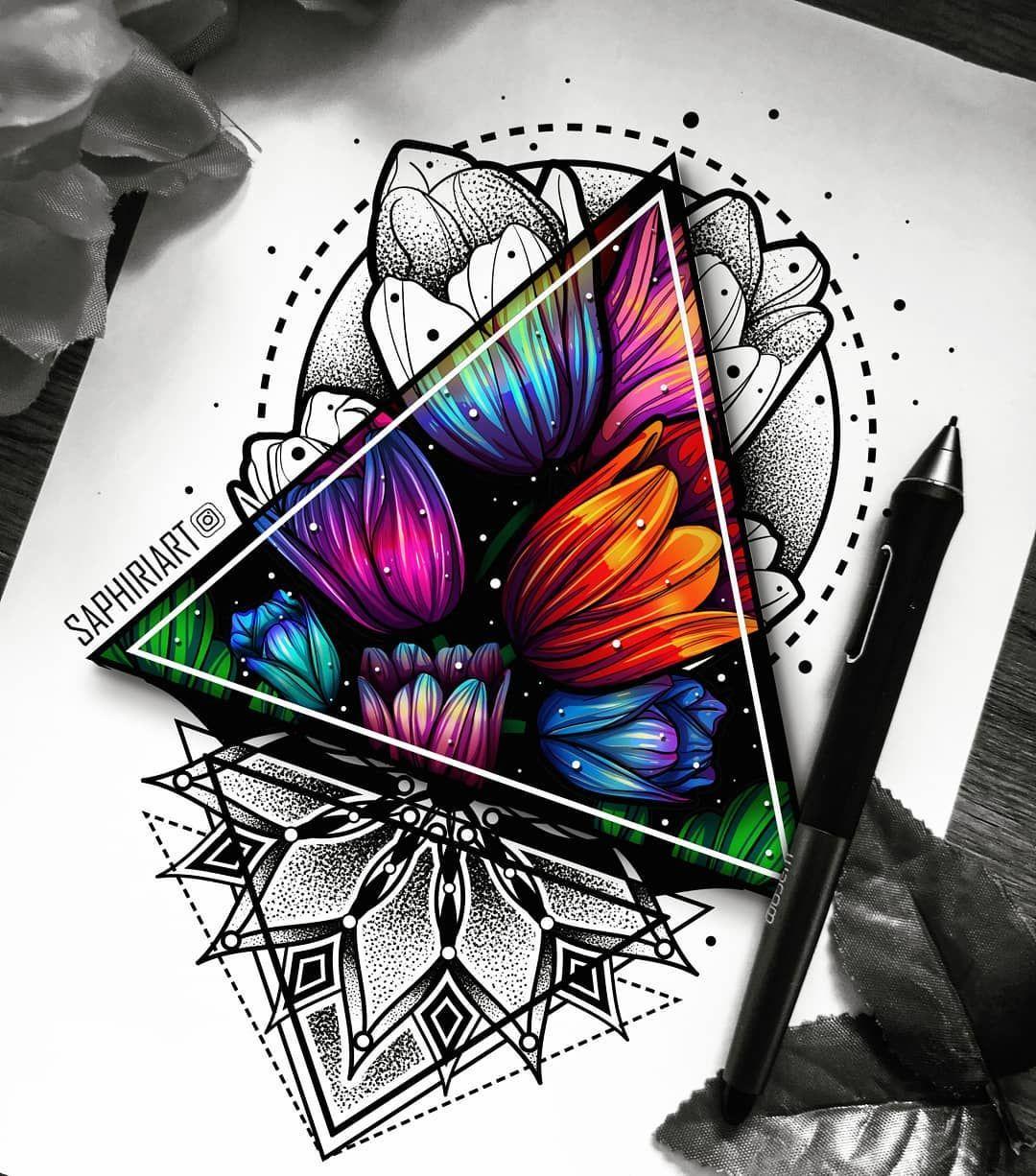 Half Coloured Flowers Mandala Flower Tattoos Geometric Tattoo Design Flower Tattoo Designs