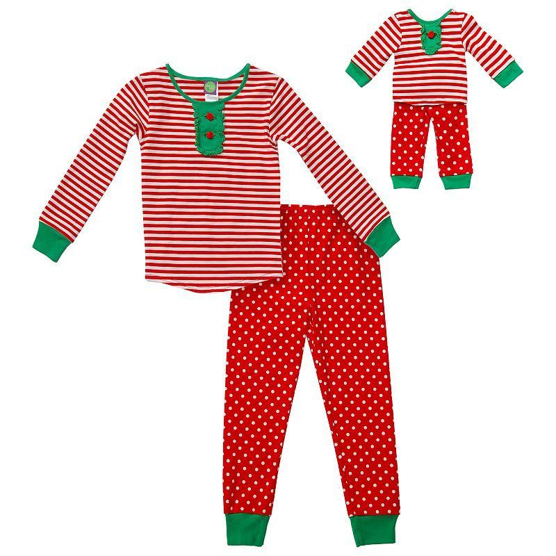 Girls 4-14 Dollie & Me Holiday Pajama Set, Girl's, Size: 5, Red