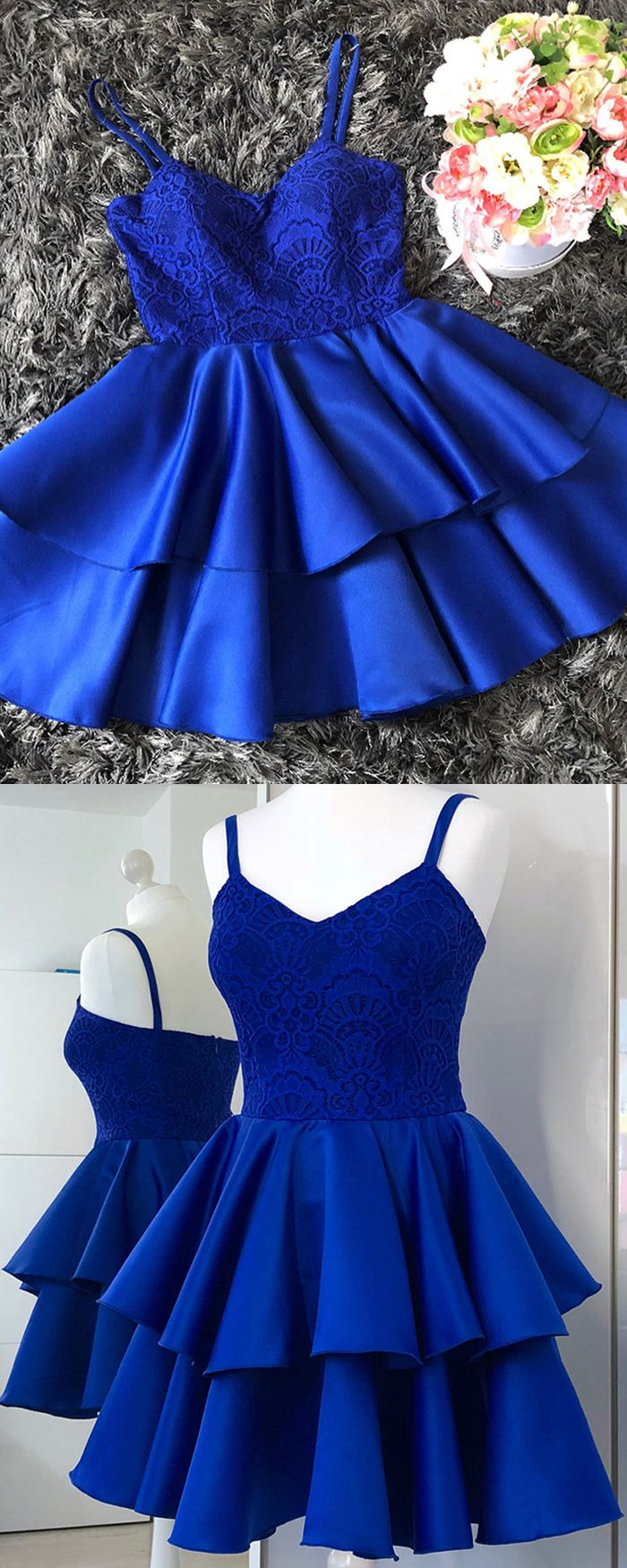 Spaghetti straps royal blue lace bodice homecoming dress with
