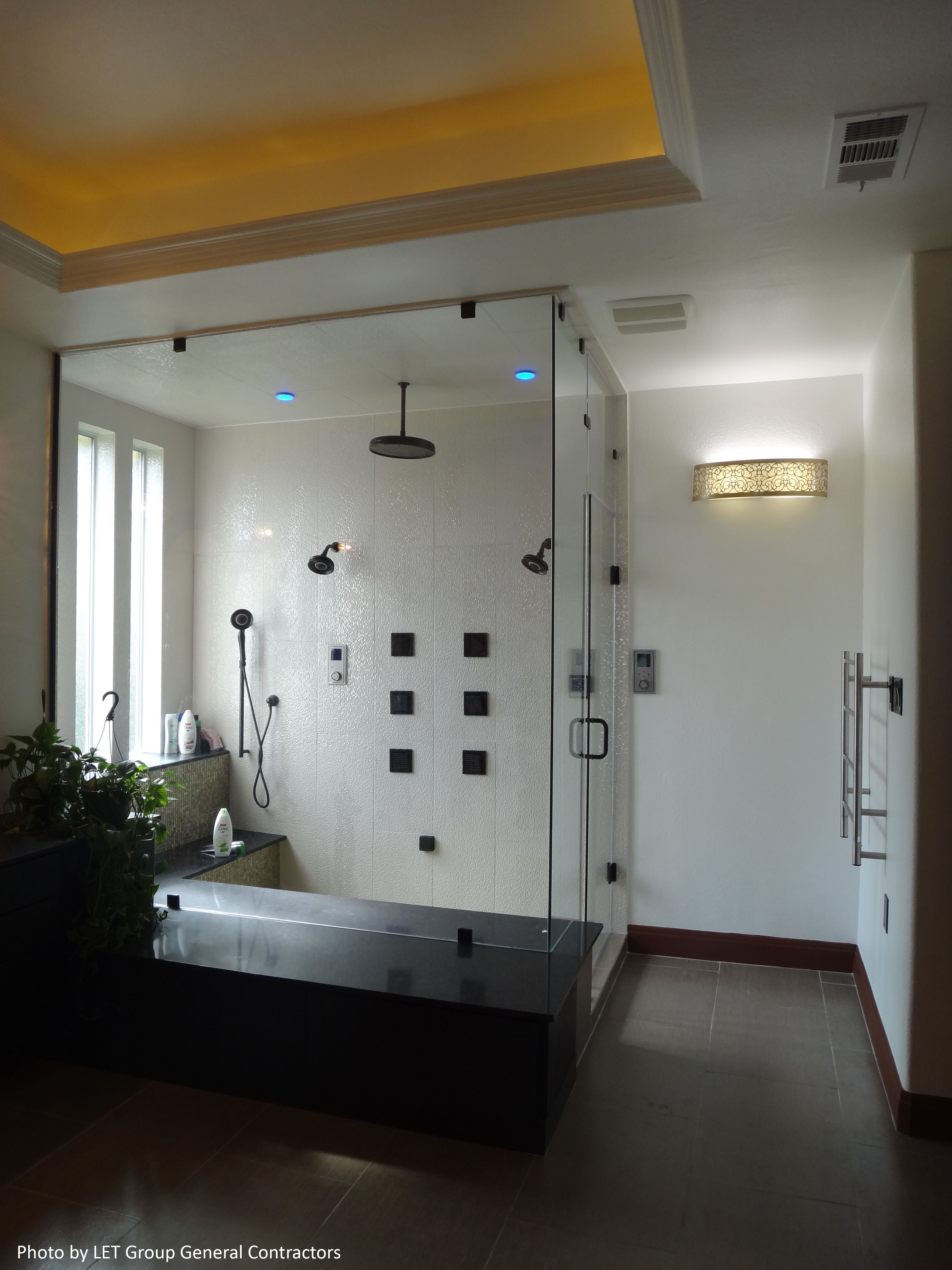 Frameless Shower Door With Glass Shower Wall And Walk In Shower With Rain Shower Head Large