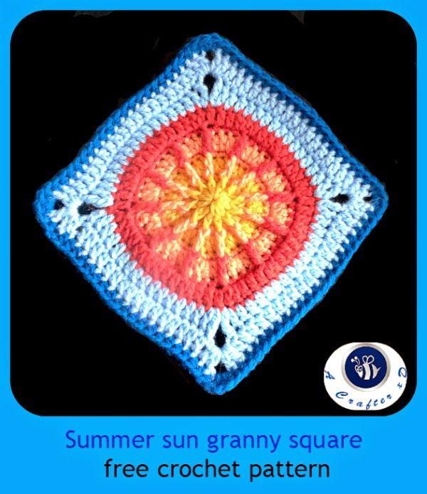 Crochet Summer Sun granny square   Granny Squares and Motifs ...