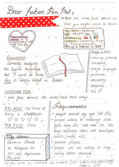 Penpal Ad Quinty  Ideas For Intro Letters  Cosillas Para El