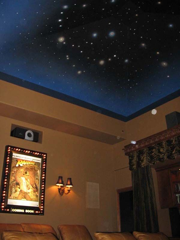 Home Theater Ceiling Design W Fiber Optic Star