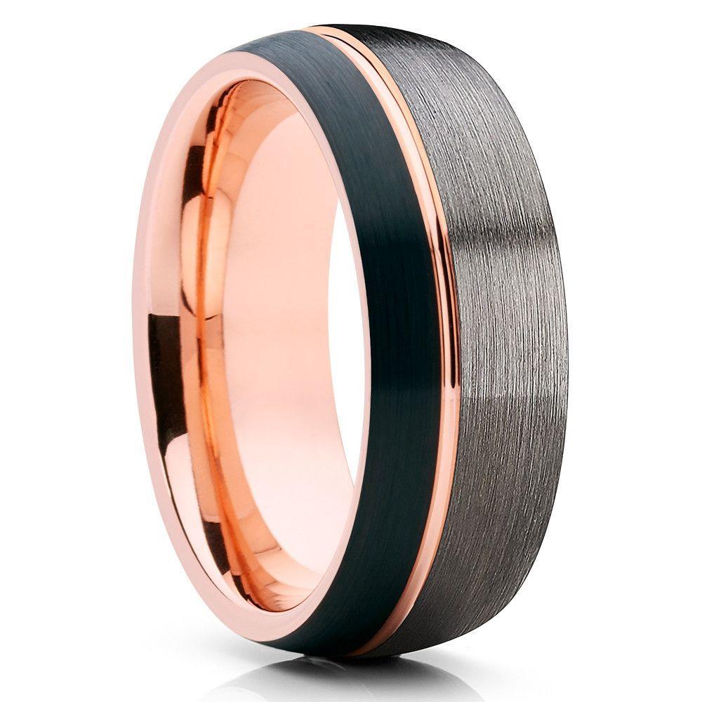 Black Wedding Band Rose Gold Tungsten Tungsten Wedding Ring Gunmetal Rose Gold Tungsten Ring Gold Tungsten Ring Rose Gold Tungsten