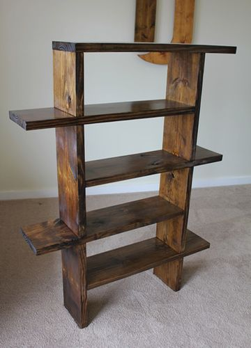 Unique Bookshelf in Dark Walnut stain.
