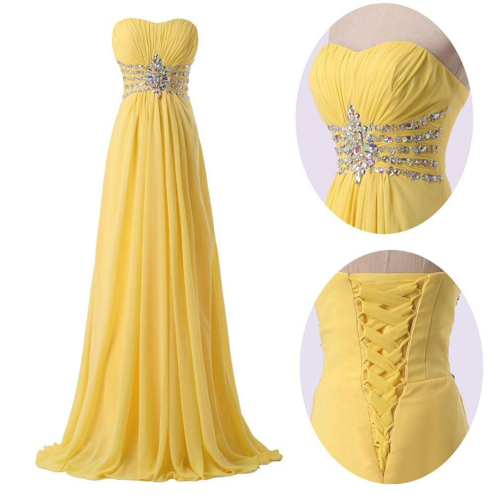 Strapless yellow chiffon evening dress with sparkle detail and strapless yellow chiffon evening dress with sparkle detail and corset back ombrellifo Image collections