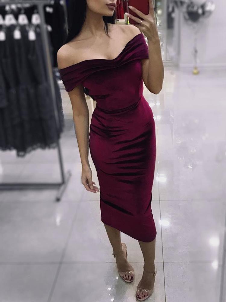 9e6c1b01925 Velvet Off Shoulder Bodycon Dress Party Dresses Uk