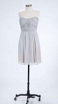Gray bridesmaid dress--simple and elegant.   Imagine the skinny belt options!