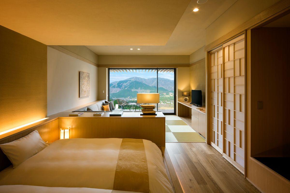 コンセプトは アトリエ 温泉旅館 箱根に 星野リゾート 界 仙石原 が開業 日本のモダンな家 タタミルーム 和室 モダン 寝室