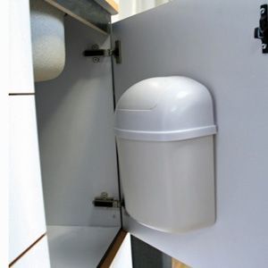 Camco 43961 Trash Can Wall Mount Rv Storage Solutions Rv Storage Remodeled Campers