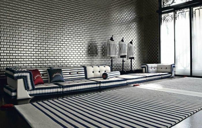 Muster Schwarz Weiß Wandgestaltung Mit Farbe Einrichtungsbeispiele Schwarz  Weiß Wohnzimmer Einrichten Mode