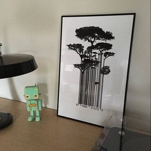Street Art Banksy Style Barcode Trees Limited Edition Art Print,  Street Art Banksy Style Barcode Trees Limited Edition Art Print,