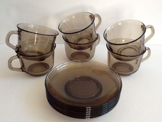 Arcoroc France Smokey Fume Set Of Gl Tea Cups Saucers Light Brown Coffee Cuccino Cup Housewarming Gift