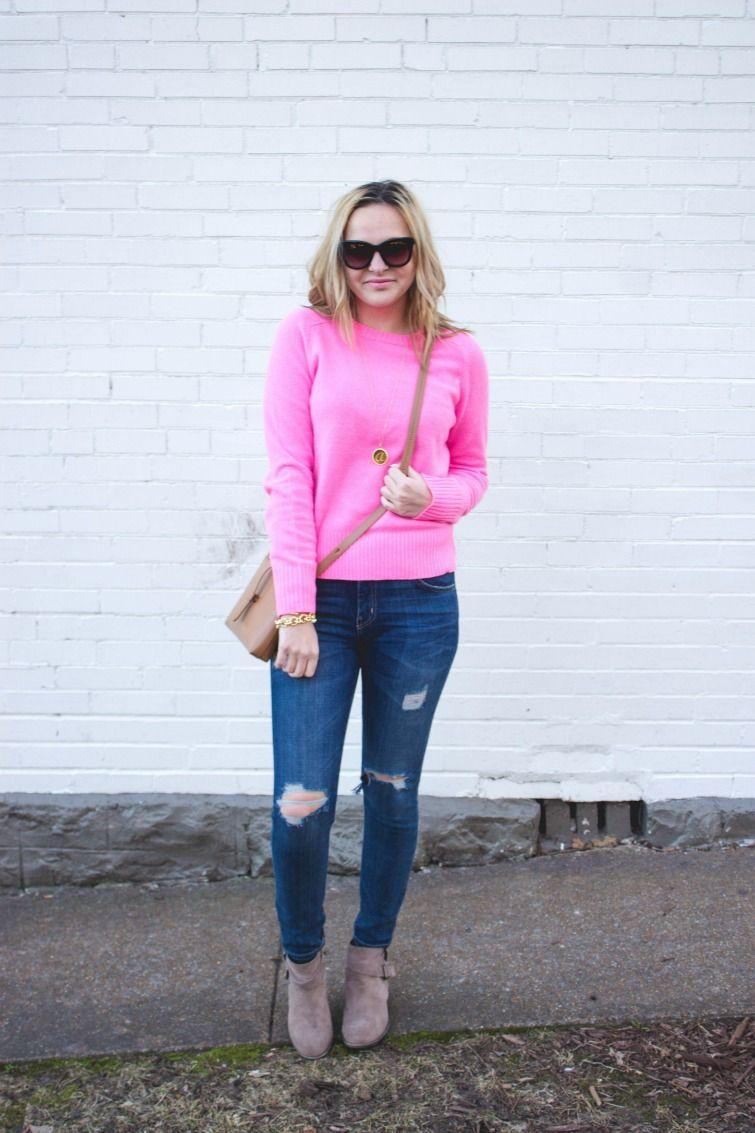 J.Crew Neon Pink Sweater, monogrammed accessories