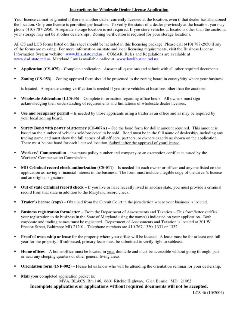 instruction of wholesale car dealer license application download
