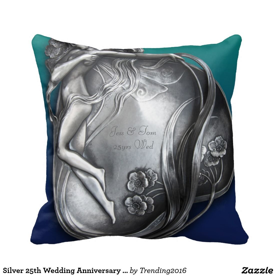 Silver th wedding anniversary arty fairy pillows gift ideas
