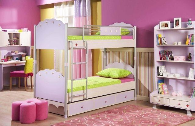 Wandgestaltung Kinderzimmer Mädchen Lila Wand Etagenbetten