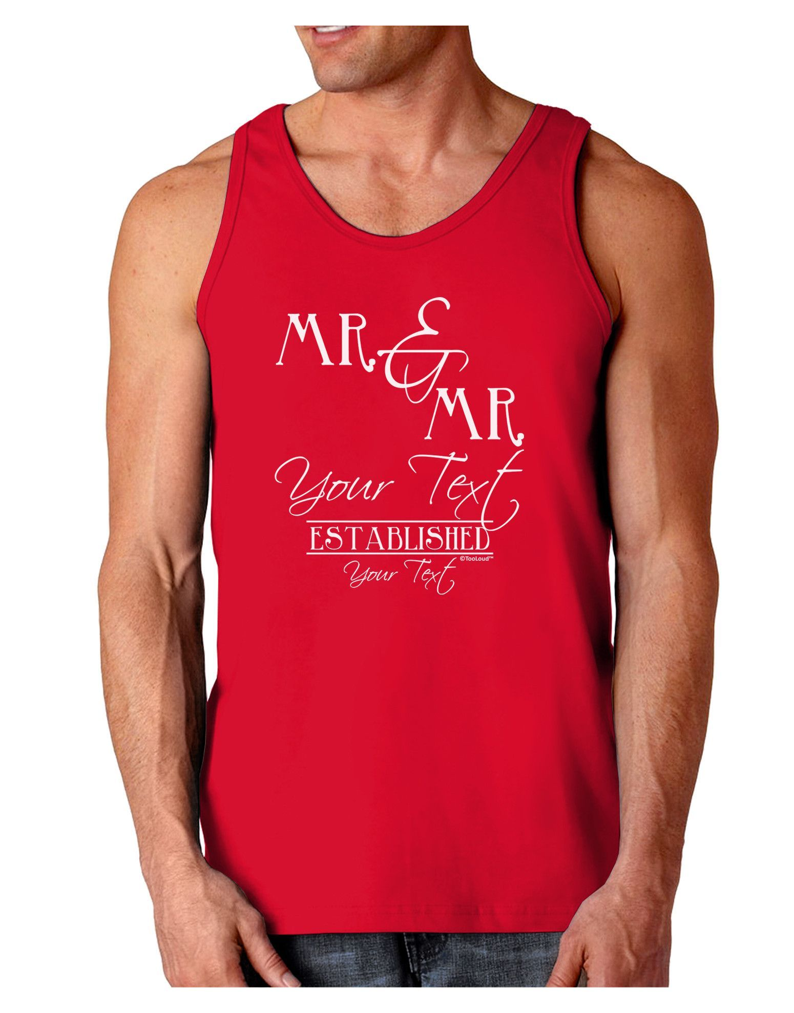 TooLoud Personalized Mr and Mr -Name- Established -Date- Design Dark Loose Tank Top