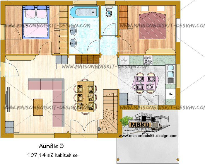 Prix d 39 une maison en bois en kit de 4 chambres avec for Plan de maison avec prix