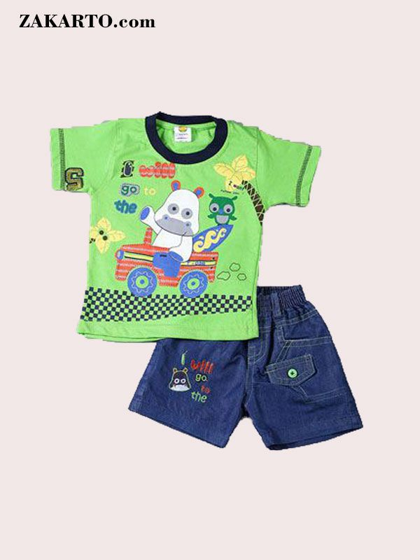 c645fd0d0 YELLOW HIPPO INFANTS PRINTED PARROT GREEN BABA SUIT BY ZAKARTO ...