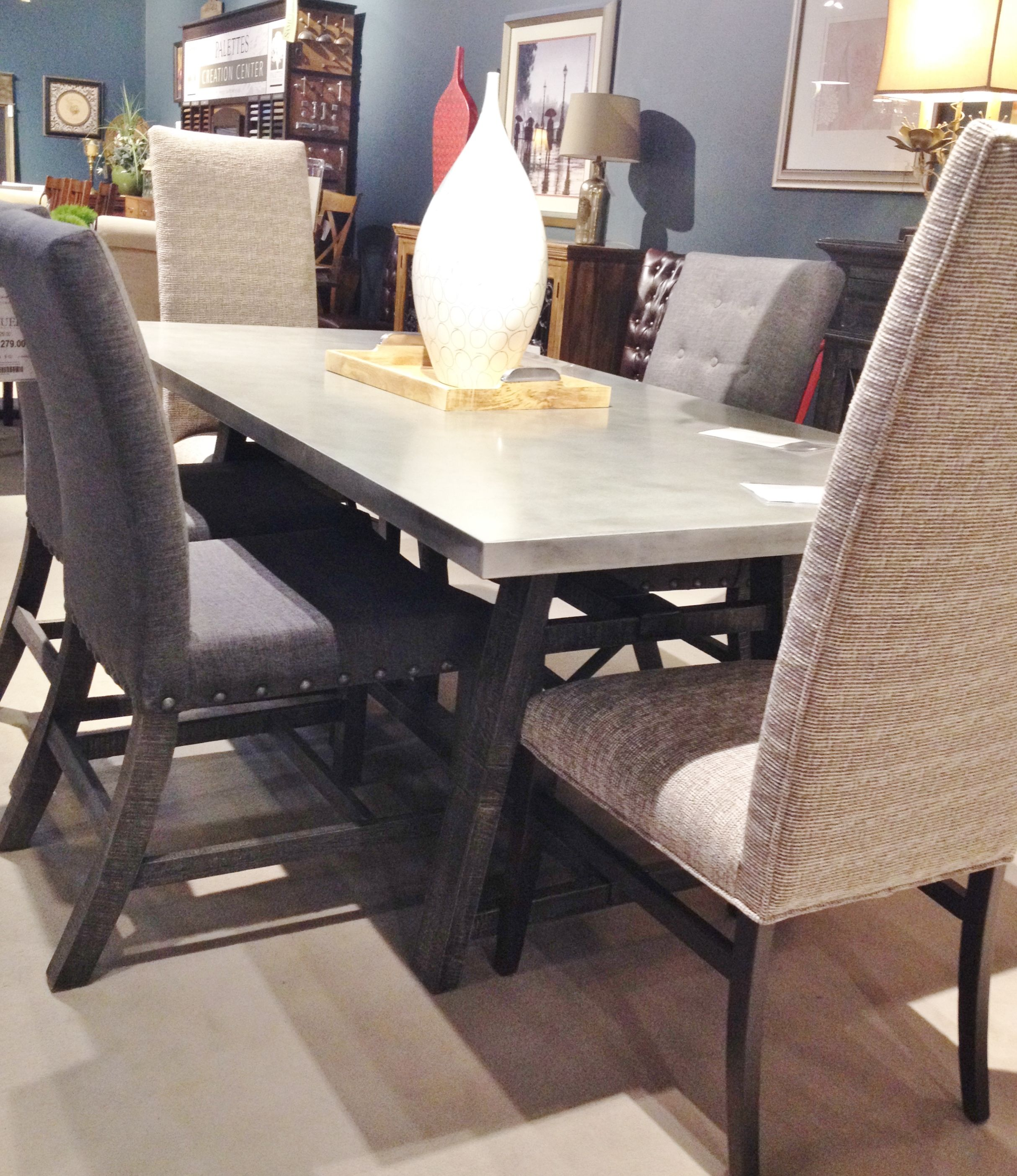 Zinc Top Table With Rustic Base And Matching Server Other Sizes Available And Many Choices Of Chairs To Match Table Home Decor Room