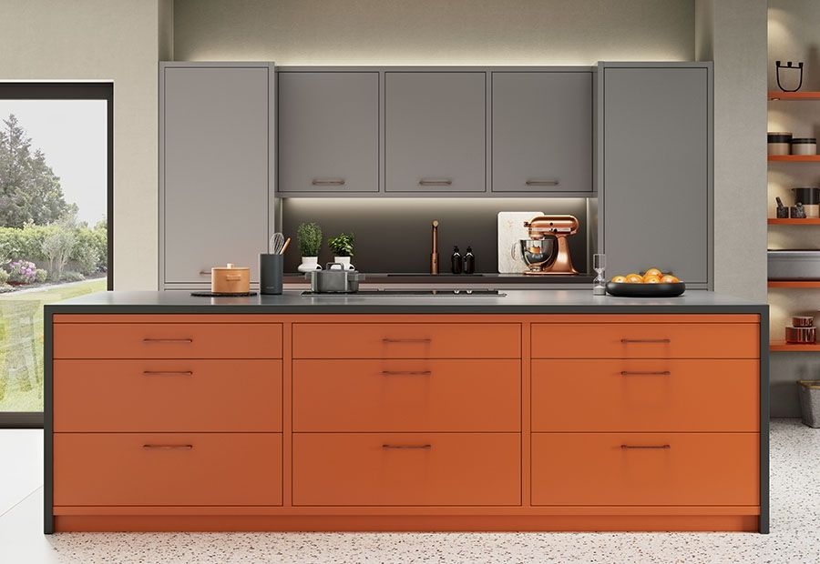 Zola Matte Painted Zingy Orange Dust Grey And Graphite Worktop